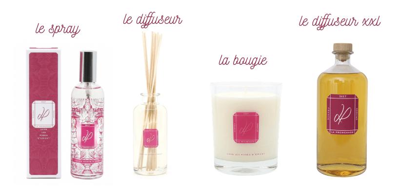 Gamme de produits senteurs Rose Orientale, parfums d'ambiance par La Promenade